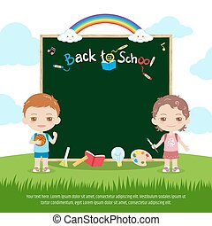 Colorful back to school green chalk board or blackboard banner with cute boy and girl, rainbow and sky