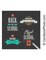 Colorful back to school retro ribbons set.