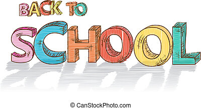 Colorful Back to school text illustration.