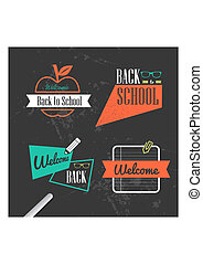 Colorful back to school vintage ribbons set.