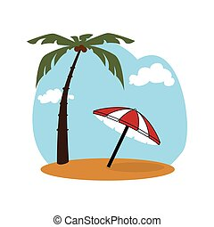 colorful background beach with umbrella