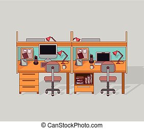 colorful background double work place office interior with filing cabinet with books