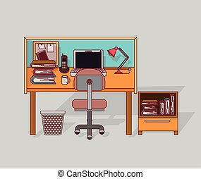 colorful background home office interior with filing cabinet with books
