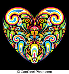 Colorful Background - illustration of heart formed by...