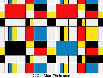 Colorful background in mondrian style. Vector illustration...