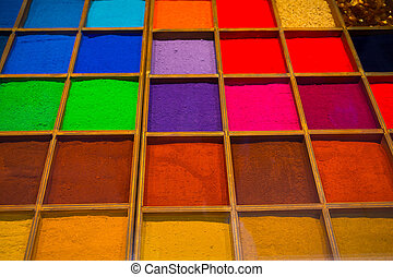 Colorful background made of powdered paint