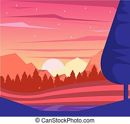 colorful background of dawn landscape of mountains and valley
