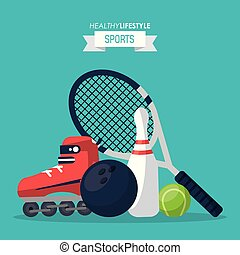 colorful background of healthy lifestyle sports with tennis racket and ball and roller skate and bowling ball