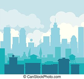 colorful background of landscape of city in the morning