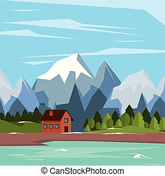colorful background of natural landscape with country house and lake and snowy mountains