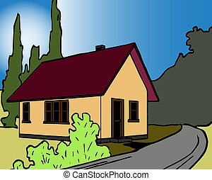 Colorful background of natural landscape with country house and mountains in sunset vector illustration