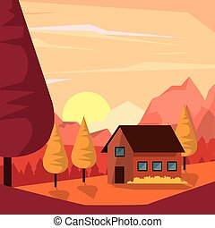 colorful background of natural landscape with country house and mountains in sunset