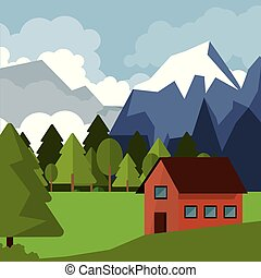 colorful background of natural landscape with country house and mountains