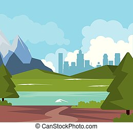 colorful background of natural landscape with valley mountains with river and city background
