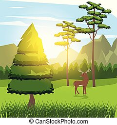 colorful background of sunny landscape with deer beside the road in forest