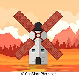 colorful background of sunset natural landscape with tower windmill