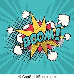 colorful background pop art style of cloud explosive callout for dialogue with boom text