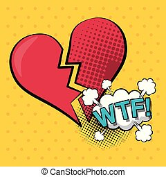 colorful background pop art style of heart broken with cloud...