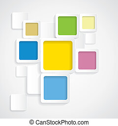 colorful background rounded squares with borders - vector graphic. This backdrop graphic is made of orange, yellow, pink, red, green, off-white & blue papers placed next each other with subtle shadows