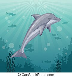 colorful background sea landscape underwater marine life and mammal dolphin