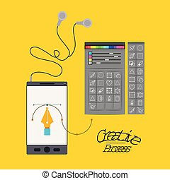 colorful background smartphone with headphones and color palette tool for designer graphic creative process