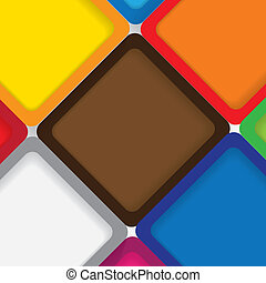 colorful background squares with borders & shadows - vector...