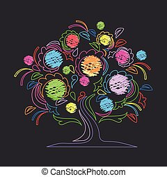 Colorful background with a beautiful tree