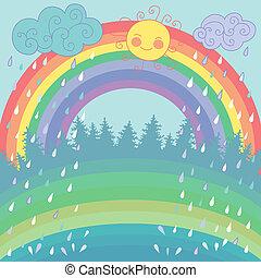 Colorful background with a rainbow, rain, sun in cartoon...