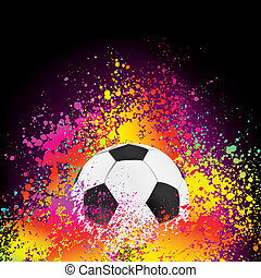 Colorful background with a soccer ball. EPS 8