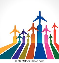 colorful background with airplane