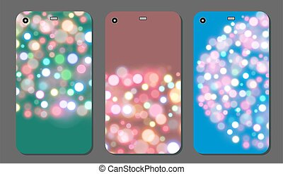 Colorful Background with bokeh lights. Vibrant Backdrop on Device Display. Futuristic Cover Design.