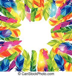 Colorful background with bright abstract transparent feathers