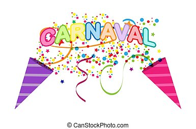 Colorful background with CARNIVAL inscription. language ...