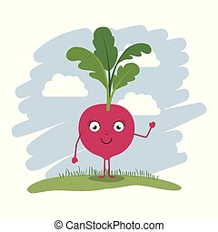 colorful background with cartoon beet