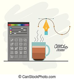 colorful background with color palette and tool box for designer graphic and hot coffee cup