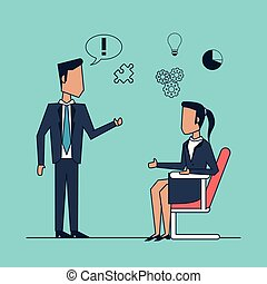 colorful background with communication and strategy business meeting between businessman and businesswoman