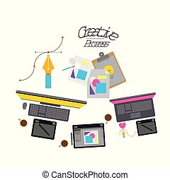 colorful background with creative process with tech elements to design
