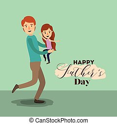 colorful background with dad super hero and girl on the fathers day