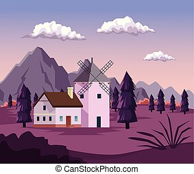 colorful background with dawn landscape of field mountains and house with windmill
