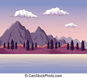 colorful background with dawn mountain valley landscape and lake