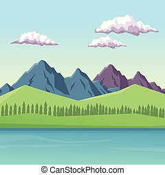 colorful background with daytime mountain valley landscape and lake