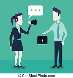 colorful background with dialogue between business people and him with briefcase and her with megaphone