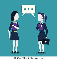 colorful background with dialogue between business women