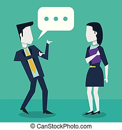 colorful background with dialogue between businessman and businesswoman