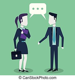 colorful background with dialogue between businesswoman and entrepreneur