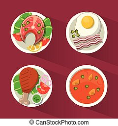 colorful background with dish foods with chicken and fish and soup and egg
