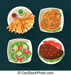 colorful background with dish foods with meat and pasta and salad and fries