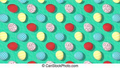 Colorful Background with Easter Eggs. Festive backdrop with cute pattern for party, instagram greeting card, facebook, youtube channel. Animation 3d render, loop 4k