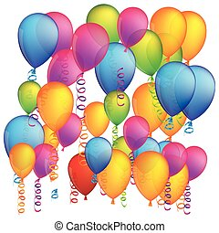 colorful background with flying balloons and serpentine