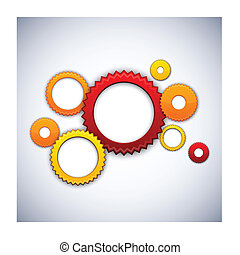 Colorful background with gear circles.